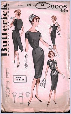 Butterick 9006 Womens Sheath Dress Oversized Collar Back Bow Overblouse Vintage Sewing Pattern Size 16 Bust 36 inches UNUSED Factory Folded Vintage Dress Patterns, Clothing Patterns, Vintage Dresses, Vintage Outfits, Vintage Fashion, Retro Mode, Mode Vintage, 50s Vintage, Patron Vintage