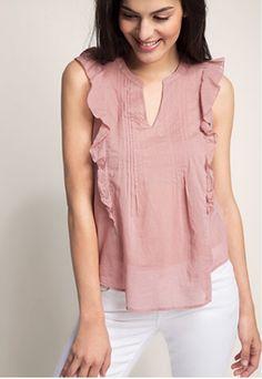 Old pink 100% cotton, not ideal because v-neck and a little darker http://www.esprit.de/zarte-rüschenbluse-aus-100-baumwolle-056EE1F038_680?referrer=search