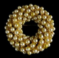 Vintage Brooch Gold Tone Faux Pearl Pin | eBay