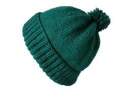 Green Bobble Hat Retro 60s Beat Ski Pom Pom Pompom by thekittensmittensuk on Etsy