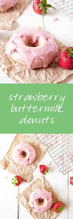 Strawberry Buttermilk Donuts with Strawberry Glaze | ahappyfooddance.com