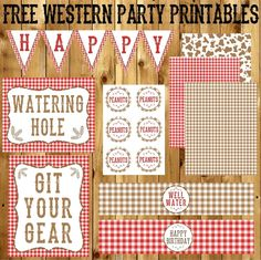 "Hey there! If you saw my last post, then you know we recently had a Western/Cowboy themed first birthday for a cool little man. Today I'm sharing the free western party printables designed for the party. Included in the printables is a gingham print birthday banner, ""Git your Gear"" sign, …"