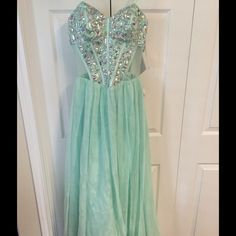 Elegent Formal Gown Sage Green Formal dress Jewell embellished on bodice, strapless size 9/10 by Bee Darlin Bee Darlin Dresses Strapless