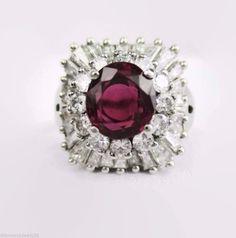 Vintage 5.20CT Fine 1950's Thai Ruby & Diamond Cluster Ballerina Ring Platinum #Handmade #Cocktail