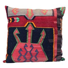 1930's Turkish Kilim Made Into Floor Pillow; Turkey 1930's/1990's;   1930's era Turkish Kilim made into a pillow. Price $250