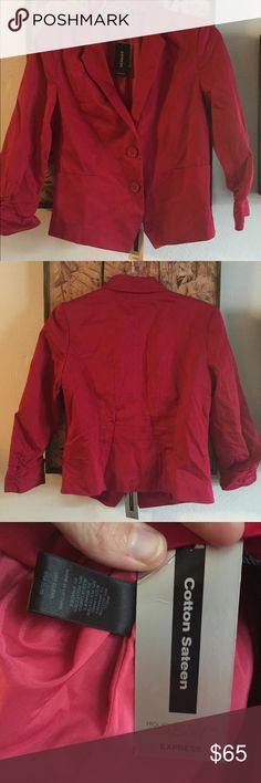 NWT EXPRESS COTTON SATEEN STRETCH JACKET BLAZER 6 NWT AUTH EXPRESS BRAND PINK COTTON SATEEN ROUCHED SLEEVE JACKET BLAZER CAREER WMNS SZ 6 $98 100% Authentic EXPRESS BRAND  Size: WOMENS size 6 (REG) Color: dark magenta, cranberry Condition: New with tags, store display; includes spare button along with original sales tags;*see photos for specific detail Material:  99% COTTON, 1% SPANDEX; fully lined; Dry clean MADE IN VIETNAM  Combined shipping discount with purchase of additional items. All…