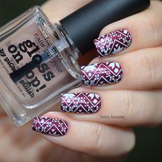 piCture pOlish 'Moscow + Gloss on Top!' stamped sweater nails by Sveta Sanders LOVE thx Sveta :) www.picturepolish.com.au