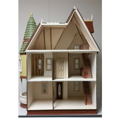 Ceiling height is 9 The house comes with milled exterior walls, round turret with precut to fit shingles, 8 working windows, 1 working main door, 2 working interior doors. Dollhouse Kits, Main Door, Ceiling Height, Dollhouses, Scale, Shed, Victorian, Outdoor Structures, Windows
