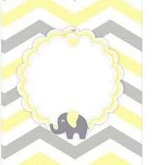 Tag Agradecimento Elefantinho Chevron Amarelo e Cinza Kit Festa Elephant Party, Elephant Theme, Baby Shawer, Baby Box, Baby Shower Yellow, Baby Boy Shower, Baby Party, Baby Shower Parties, Baby Elefante