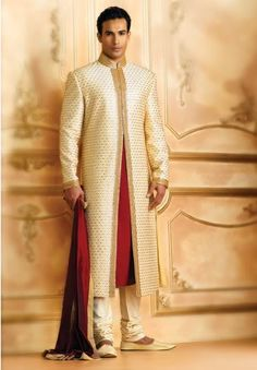 Indian groom sherwani - matching our colors Wedding Sherwani, Pakistani Wedding Dresses, Indian Wedding Outfits, Indian Outfits, Indian Groom Dress, Indian Attire, Groom Outfit, Groom Attire, Wedding Suits