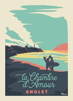 Vintage Surf, Vintage Travel, Marcel, Travel Posters, Surfing, Gravure, Illustration, Travelling, Bedroom