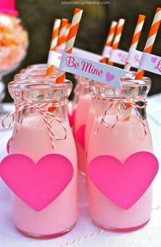 Valentines breakfast.. Cute as strawberry milk