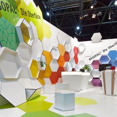 Colorful and geometric! Resopal-Euroshop-2014-  #exhibit #booth #design