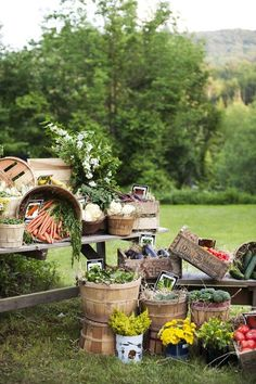 This would make the cutest farmers market party or even an engagemetn party display! I love all the fresh produce in the wooden crates and bushel baskets with seed packets and potted flowers mixed in. Wouldn't this look good for a buffet? Decoration Evenementielle, Decoration Inspiration, Wedding Inspiration, Table Decorations, Farmers Market Display, Vegetable Stand, Lodge Wedding, Table Wedding, Wedding Rustic