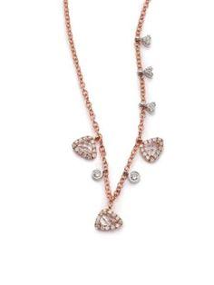 Meira T - White Topaz, Diamond & 14K Rose Gold Charm Necklace