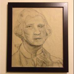 George Washington Portrait, conte crayon on paper. By: Jose Rojas http://joserojasphoto.com/fineart