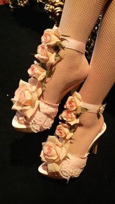 Himegyaru flower embellished heels. Shoe clips would be a great alternative.