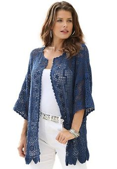 5346349485ab2 Roamans Women s Plus Size Scalloped Border Crochet Cardigan Denim 24 7  (Marine Blue