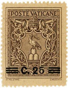 vintage postage stamps, Vatican City postage stamp: Arms of Pope Pius XII