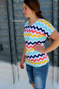 Mint Navy Coral and Yellow Chevron T shirt for by Gogreenstyle, $39.00