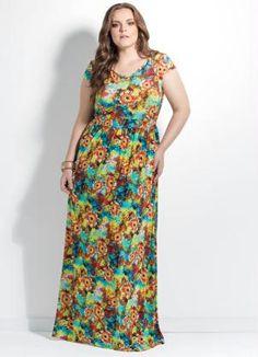 Vestido Longo Floral Plus Size - Posthaus
