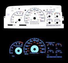 96 97 98 Silverado C/k1500 (Chevrolet Silverado GMC Suburban Yukon Denali Xl Sierra 1500 Tahoe) ck1500 Full Size Truck Blue Indiglo Glow White Gauge by High performance parts. $32.00. Item Condition: Brand New  The Colored Gauge Faces are one of the key ingredients to gaining the most functional and attractive point to any cockpit. The faces will replace the dull black layout with a bright and easy to read cluster. This is a must for all car buffs.  White Face by...
