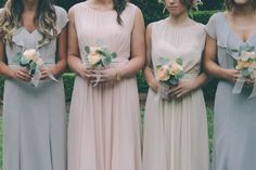 Jenny Yoo Chelsea & Vivienne Dresses in shades of dove grey, blush and champagne
