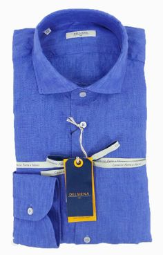 Delsiena 2537 30 Linen Shirt Azur Blue - £75 with FREE UK Delivery #Linen #Mens #Fashion #Delsiena #Summer