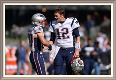 Nov 19, 2017; Mexico City, MEX; New England Patriots wide receiver Danny Amendola (80) and quarterback Tom Brady (12) meet on the field before the game against the Oakland Raiders at Estadio Azteca. Mandatory Credit: Orlando Ramirez-USA TODAY Sports — at Estadio Azteca.