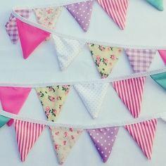 mini banderines rosa + fucsia + lila + violeta + amarillo