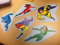 Five Superheroes ~ so tomorrow  The words are:  5 superheroes ready to fly Here comes the villain, Stop that guy!This superhero can save the day.Off (s)he flies - up, up, and away! Count down from 4, 3, 2, 1