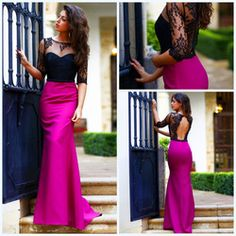 Online Shop Vestido Formatura 2015 nuevos de moda Fushcia satén negro encaje con medias mangas de la sirena Vestido de fiesta mujeres verano Vestido de noche|Aliexpress Mobile
