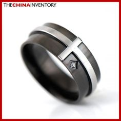 SIZE 6 STAINLESS STEEL CROSS BLACK TONE CZ RING R2309