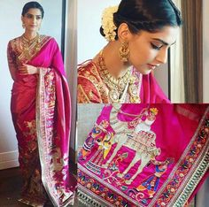 Sonam Kapoor In Aby Jani Sandeep Khosla Saree ❤️beautiful saree Indian Attire, Indian Outfits, Indian Dresses, Trendy Sarees, Stylish Sarees, Indian Look, Indian Ethnic Wear, Saris, Lehenga