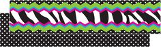"""Zebra Chevron Dot Ribbon Runner -Ribbon Runners are narrow double-sided decorative strips with so many uses! Use them separately or layer them with wider, double-sided borders to create your own style for trimming bulletin boards or whiteboards. Use them to create bulletin board sections, label bookshelves, make bookmarks, create binder spine labels, and so much more! Package includes 15 (36"""" x 1½"""") strips."""