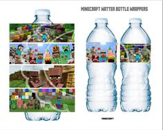 Instant download bottle water wrapper party decor  inspired by Minecraft