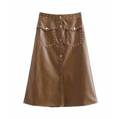 To find out about the Studded Detail PU Skirt at SHEIN, part of our latest Skirts ready to shop online today! Leather Look Skirts, Leather A Line Skirt, Faux Leather Skirt, Fall Skirts, Fall Dresses, Blouse Dress, Dress Skirt, A Line Skirts, Casual Chic