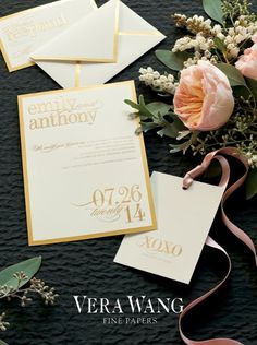 #gold wedding #invitation, by Vera Wang Fine Papers, from  You're So Invited