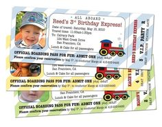 cute train ticket birthday party invitation with child's picture