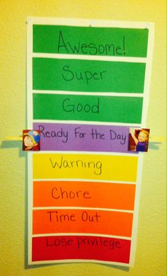 """Adapted the schools """"clip"""" chart for behavior at home. If they end the day in the green they get a sticker (2 if on awesome). When they get 7 stickers they can pick from the reward box which is filled with dollar store items"""