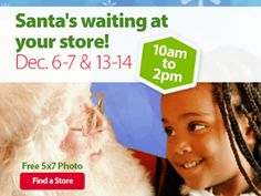 On December and December Walmart will be offering up a FREE photo with Santa Claus at participating locations from BE SURE to check to see if your local store is participating by clicking here. (Thanks, Freebie Radar! Free Beauty Samples, Free Makeup Samples, Free Cosmetic Samples, Free Samples, Santa Pictures, Free Pictures, Free Photos, Walmart Deals