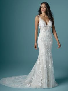 Wedding Dress Pictures, Dream Wedding Dresses, Designer Wedding Dresses, Bridal Dresses, Wedding Dress Sheath, Fitted Wedding Gown, V Neck Fit And Flare Wedding Dress, V Neck Wedding Dress, Rustic Wedding Dresses