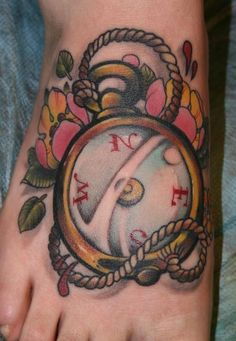 Compass Tattoo. Maybe with the saying 'not all those who wander are lost'