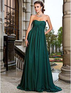 uma linha de varredura strapless / escova de trem chiffon vestido de noite - BRL R$ 339,60