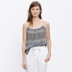 @madewell silk cross-back cami in moroccan tile