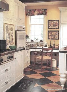 ciao! newport beach: french kitchen style~love the floor!