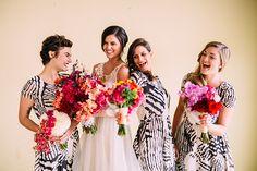 patterned bridesmaid dresses, photo by Cluney Photo http://ruffledblog.com/cinco-de-mayo-wedding-inspiration-with-macrame #bridesmaids #bridesmaidsdresses