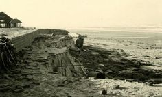 Weg geslagen kuststrook tijdens de februari storm 1953