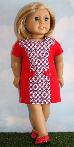 Red and blue retro shift dress by SewLikeBetty on Etsy. Made using the Good Vibrations Sixties Dress pattern. Get it here http://www.pixiefaire.com/products/sixties-dress-18-doll-clothes. #pixiefaire #goodvibrationssixtiesdress