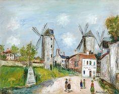 Maurice Utrillo Les trois moulins de Montmartre, circa 1950 Huile sur toile 73,5 x 92,5 cm Estimation : 170 000-230 000 €